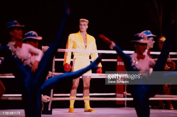 Swedish actor Dolph Lundgren in a scene from the film 'Rocky IV' , Los Angeles, California, 1984.