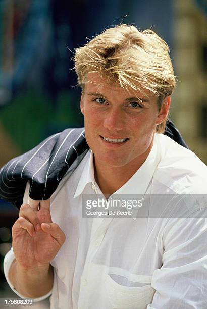 Swedish actor Dolph Lundgren poses in 1990 ca in London England