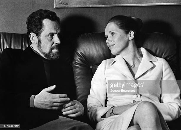 Swedish actor Erland Josephson and Norwegian actress Liv Ullmann on the set of TV MiniSeries Scener ur ett äktenskap written and directed by Ingmar...