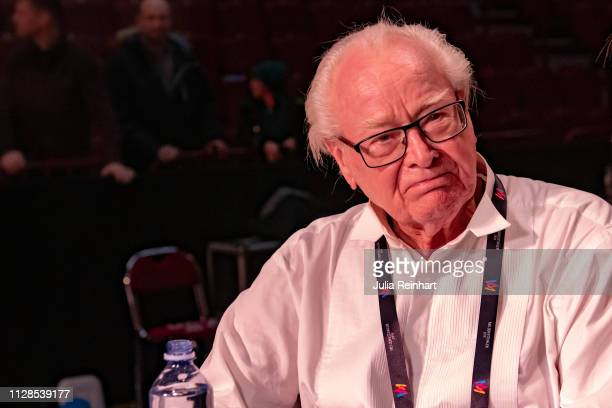 Swedish actor Jan Malmsjö best known for his role of Bishop Edvard Vergérus in Ingmar Bergman's 'Fanny and Alexander' meets the press after finishing...