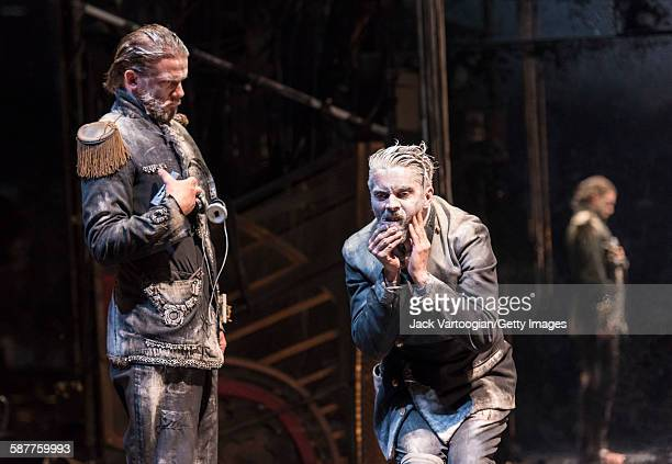Swedish actor Magnus Jakobsson and French artist James Thierree both of the La Compagnie du Hanneton perform in the final dress rehearsal of 'Tabac...