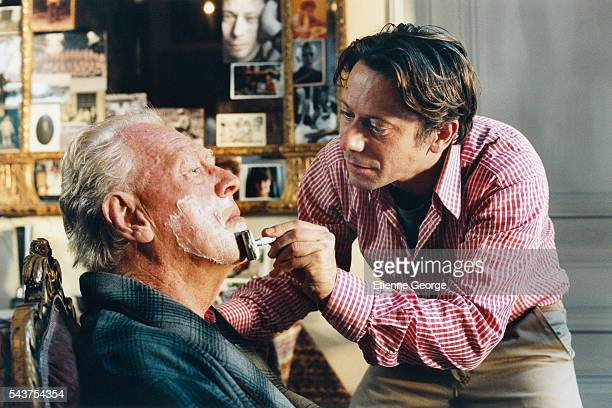 Swedish actor Max von Sydow and French actor Mathieu Amalric on the set of the film Le Scaphandre et le Papillon directed by American artist painter...