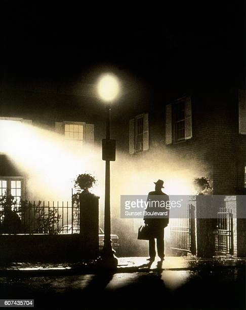 Swedish actor Max von Sydow on the set of The Exorcist based on the novel by William Peter Blatty and directed by William Friedkin