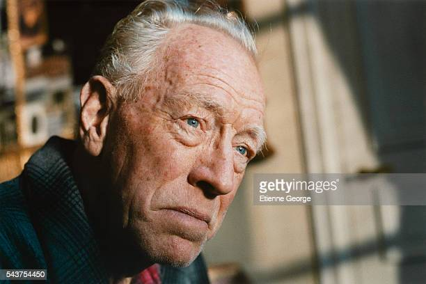 Swedish actor Max von Sydow on the set of the film Le Scaphandre et le Papillon directed by American artist painter and director Julian Schnabel and...