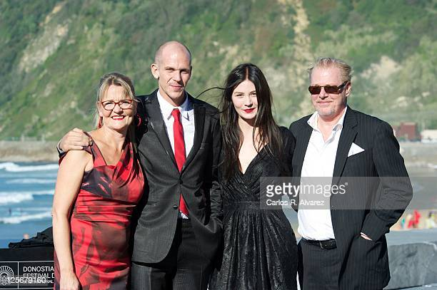"Swedish actors Anne Petren, Gustaf Skarsgard, Malin Buska and Peter Anderson attend ""Happy End"" photocall at the Kursaal Palace during the 59th San..."