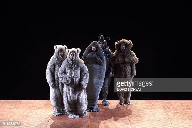 Swedish actors Jonas Sjoqvist, Asa Persson, Anders Hambraeus, Fredrik Gunnarson and David Fukamachi Regnfors perform during a rehearsal of the play...