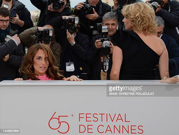 """Swedish actress Alexandra Rapaport and Anne Louise Hassing pose during the photocall of """"Jagten"""" presented in competition at the 65th Cannes film..."""