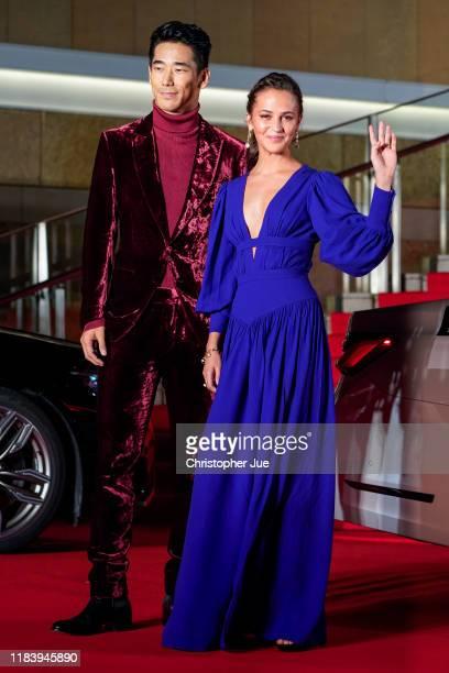 Swedish actress Alicia Vikander and Japanese actor Naoki Kobayashi arrive at the opening ceremony of Tokyo International Film Festival 2019 at...