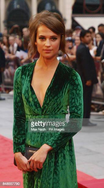 Swedish actress Alicia Vikander arriving for the premiere of Anna Karenina at the Odeon Leicester Square London