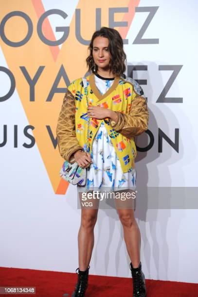 Swedish actress Alicia Vikander attends Louis Vuitton Volez Voguez Voyagez Exhibition on November 15 2018 in Shanghai China