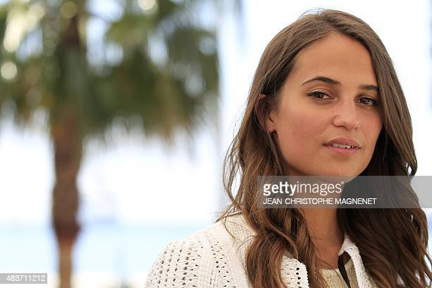 Swedish actress Alicia Vinkander poses at the Scandinavian terrace during the 68th Cannes film festival on May 17 2015 in Cannes southeastern France...