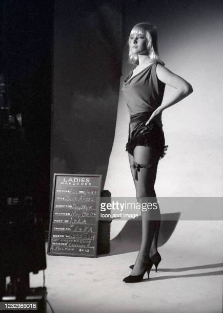 Swedish actress and former wife of Sammy Davis Jr., May Britt tries on wardrobe during the filming of the 1959 American film The Blue Angels, on...