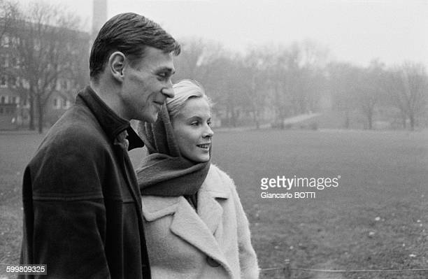 Swedish Actress Bibi Andersson And Husband Lars Glazer In Paris France Circa 1960