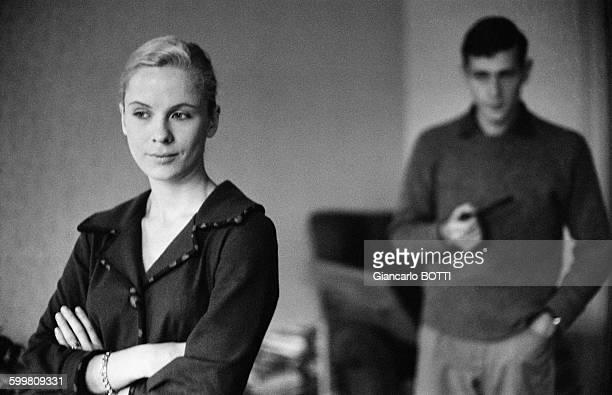 Swedish Actress Bibi Andersson And Husband Lars Glazer In Paris France Circa 1960
