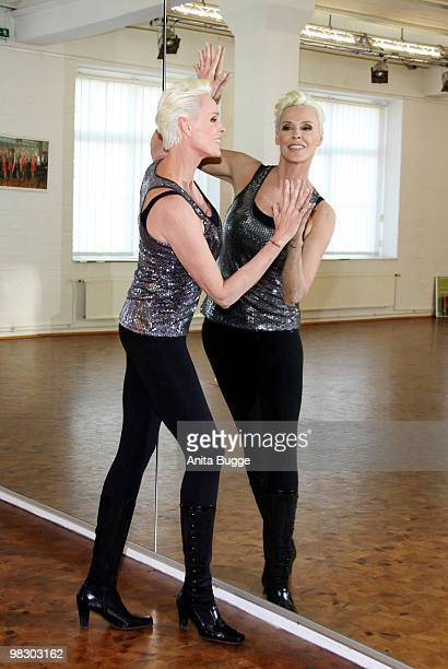 Swedish actress Brigitte Nielsen poses for the press during a training session for the 'Let's Dance' RTL tv show at Tanzschule Stelter on April 7,...
