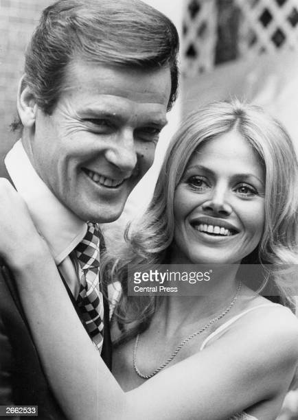 Swedish actress Britt Ekland attends a reception at the Cleremont Hotel in London with Roger Moore They both star in the new James Bond film 'The Man...