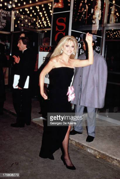 Swedish actress Britt Ekland attends the premiere of 'Scandal' at the Odeon Cinema on March 3 1989 in London England