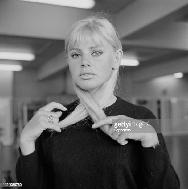 Swedish actress Britt Ekland pictured at a press reception for the ABC Weekend Television Armchair theatre television play 'A Cold Peace' in London...