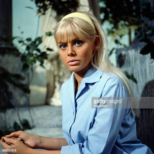 Swedish actress Britt Ekland pictured on the set of the television drama series 'Armchair Theatre A Cold Peace' in 1965