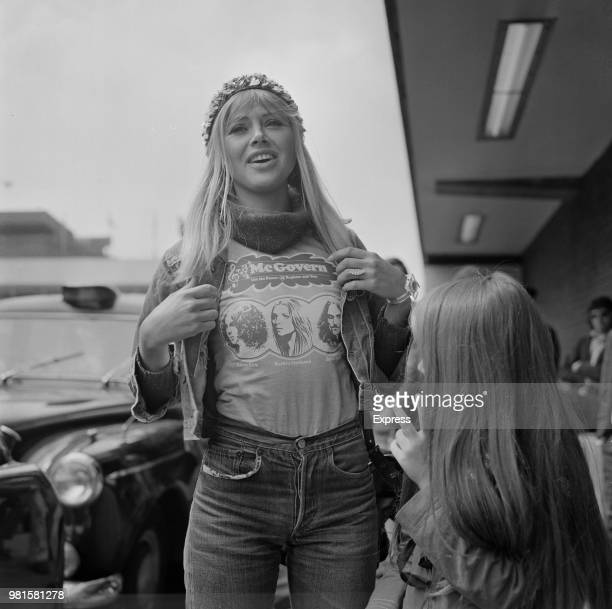 Swedish actress Britt Ekland pictured wearing a pro George McGovern tshirt at Heathrow airport in London on 19th April 1972 George McGovern is...