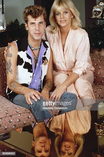 Swedish actress Britt Ekland with her husband, drummer Slim Jim Phantom, circa 1988.
