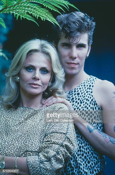 Swedish actress Britt Ekland with her husband, Slim Jim Phantom, circa 1987.