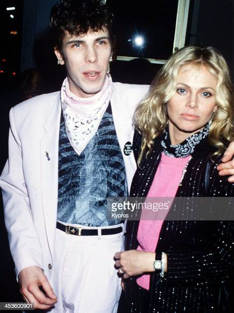 Swedish actress Britt Ekland with her husband Slim Jim Phantom, the drummer for the rockabilly band Stray Cats, circa 1990.