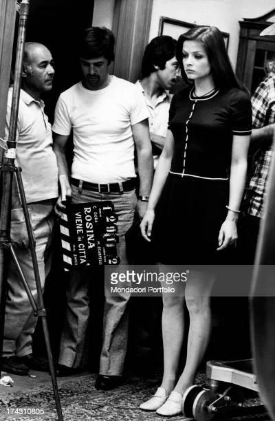 Swedish actress Ewa Aulin concentrating before they start to shoot the film Rosina Fumo viene in città per farsi il corredo Rome 1972