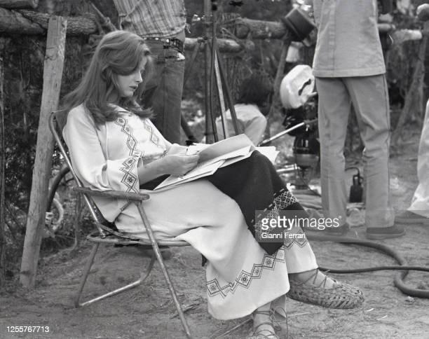 Swedish actress Ewa Aulin filming Ceremonia sangrienta Madrid Spain 1973