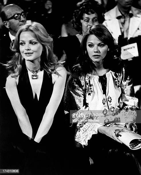 Swedish actress Ewa Aulin sitting beside Italian actress Agostina Belli Taormina 1972