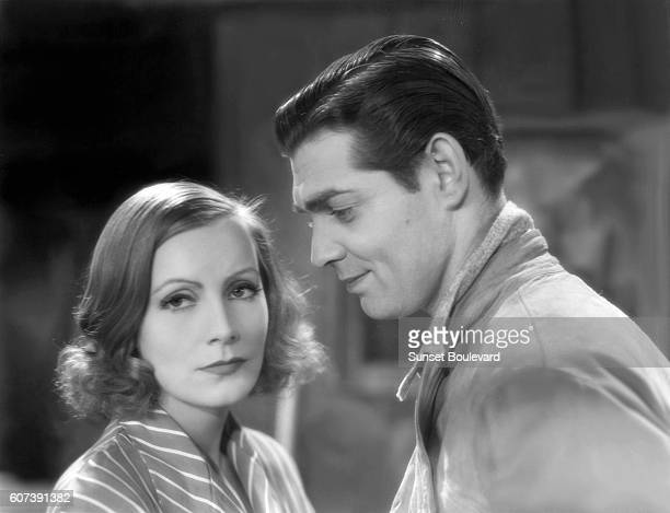 Swedish actress Greta Garbo and American actor Clark Gable on the set of Susan Lennox Fall and Rise