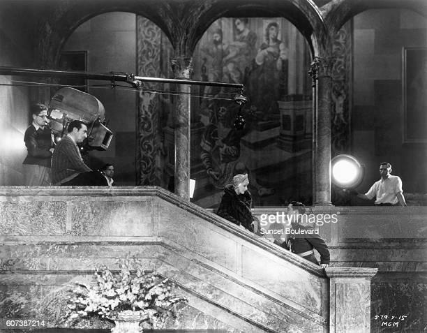 Swedish actress Greta Garbo and Mexican actor Ramon Novarro with American director George Fitzmaurice on the set of his movie Mata Hari.