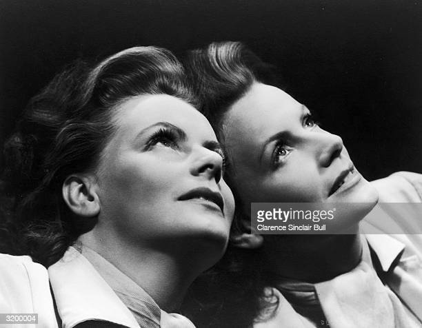 Swedish actress Greta Garbo reflected in a mirror.