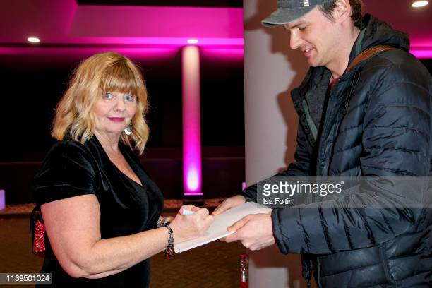Swedish actress Inger Nillson with a fa attends the Gloria Deutscher Kosmetikpreis at Hilton Hotel on March 30 2019 in Duesseldorf Germany