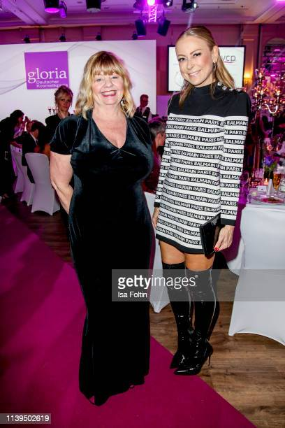 Swedish actress Inger Nilsson and German actress Jenny Elvers attend the Gloria Deutscher Kosmetikpreis at Hilton Hotel on March 30 2019 in...