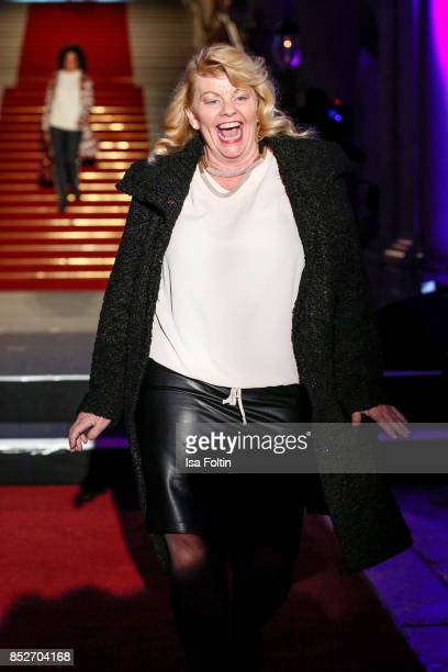 Swedish actress Inger Nilsson walks the runway during the Minx Fashion Night in favour of 'Sauti Kuu' of Auma Obama at Wuerzburger Residenz on...