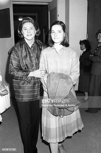 Swedish actress Ingrid Bergman and her daughter, Italian actress Isabella Rossellini, posing together. 1980