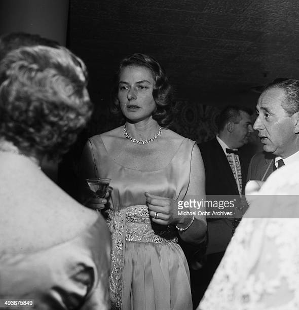 Swedish actress Ingrid Bergman attends a party in Los Angeles California