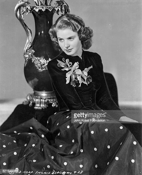 Swedish actress Ingrid Bergman in a promotional shot for Columbia Pictures wearing a pearl necklace and polka dot skirt 1941