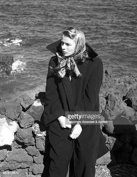 Swedish actress Ingrid Bergman looking far on the set of the film Stromboli Stromboli 1949