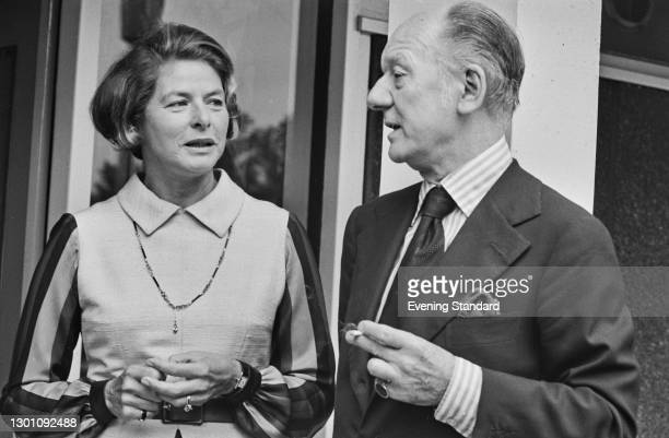 Swedish actress Ingrid Bergman with English actor Sir John Gielgud , UK, August 1973. Gielgud is directing Bergman in the W. Somerset Maugham play...