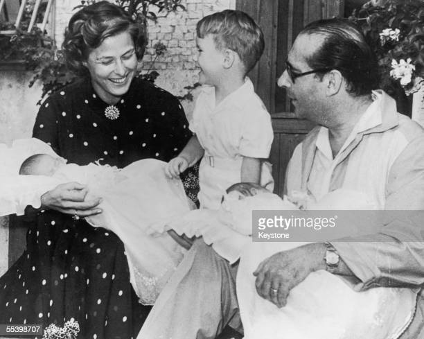 Swedish actress Ingrid Bergman with her husband film director Roberto Rossellini their son Roberto Ingmar Rosselini and their threeweek old twins...