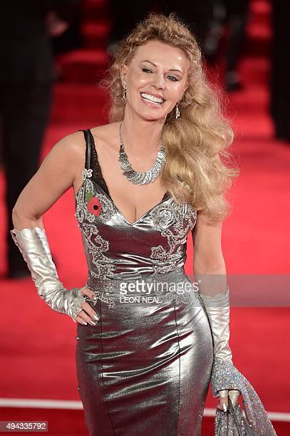 Swedish actress Kristina Wayborn poses on arrival for the world premiere of the new James Bond film 'Spectre' at the Royal Albert Hall in London on...