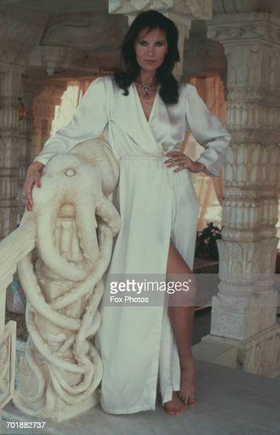 Swedish actress Maud Adams poses with an octopus sculpture on the set of the James Bond film 'Octopussy' in which she plays the title role 1982