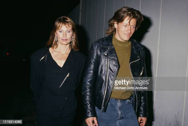 Swedish actress Maud Adams with American singer and actor Jack Wagner circa 1985
