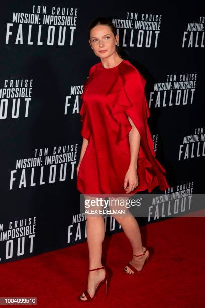 Swedish actress Rebecca Ferguson arrives for a screening of 'Mission Impossible Fallout' at the Smithsonian National Air and Space Museum on July 22...