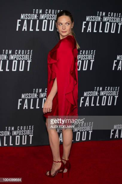 Swedish actress Rebecca Ferguson arrives for a screening of Mission Impossible Fallout at the Smithsonian National Air and Space Museum on July 22 in...