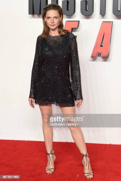 Swedish actress Rebecca Ferguson arrives for the UK premiere of the film Mission Impossible Fallout in London on July 13 2018