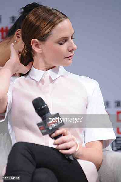 Swedish actress Rebecca Ferguson attends the press conference of Christopher McQuarrie's film Mission Impossible Rogue Nation at Jing An ShangriLa on...