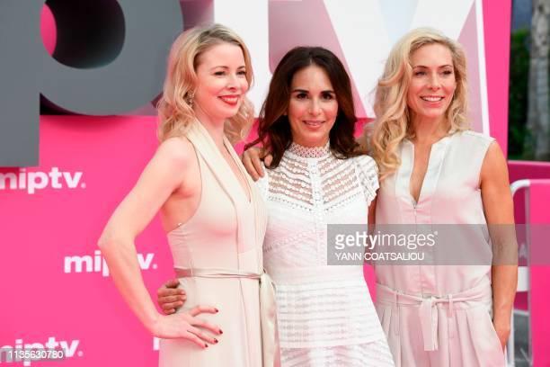 "Swedish actresses of the TV show ""Honour"" Julia Dufvenius, Alexandra Rapaport and Eva Rose pose during the 2019 Cannes International Series festival,..."